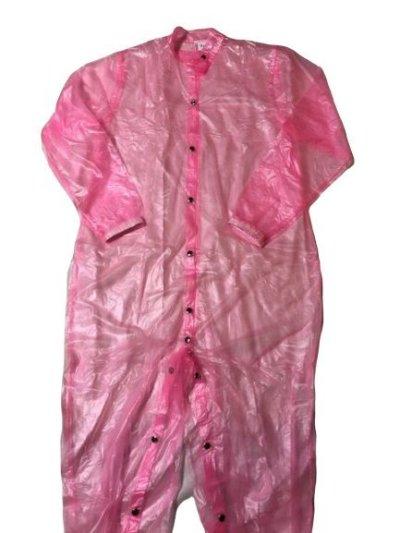 画像2: 大人用PVCスーツオープンボタンタイプピンク