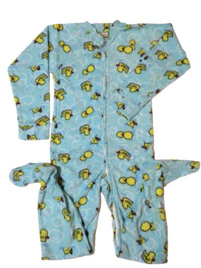画像1: 大人用 カバーオール大人用ベビーパジャマ(アヒル柄水色)★特大のXXLサイズもあります♪